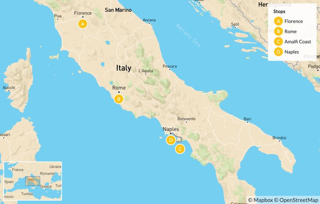 Map of Florence, Cinque Terre, Rome, & Amalfi Coast - 9 Days