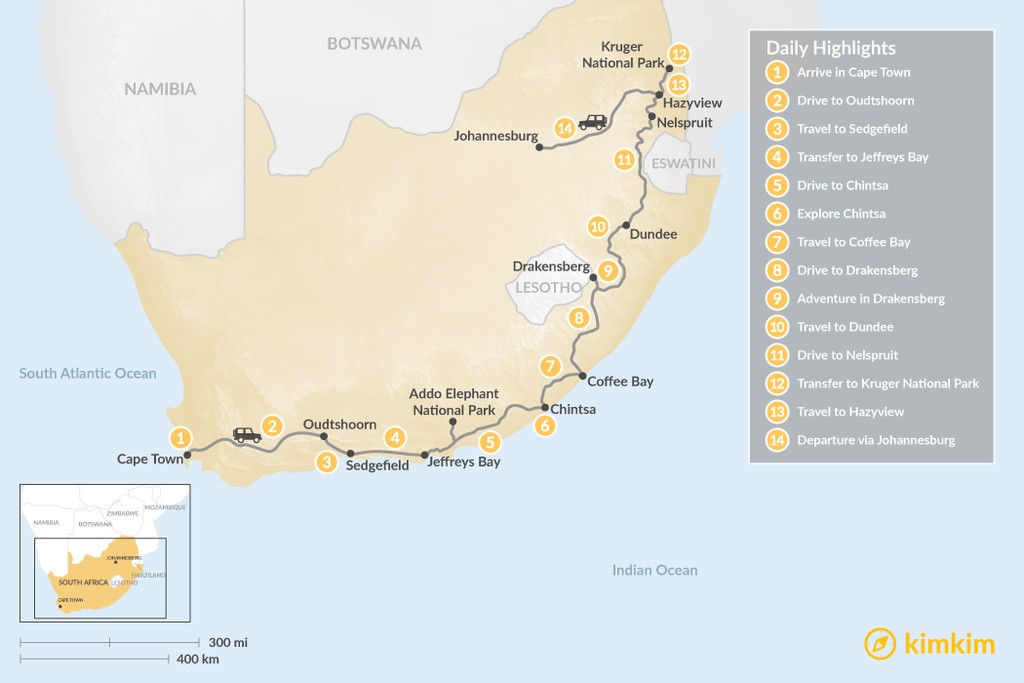 Map of Country of Contrasts Road Trip: Cape Town, Garden Route, Wild Coast, Kruger National Park, & More - 14 Days
