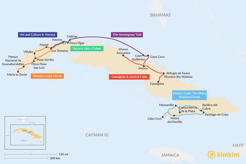 Map of 5 Days in Cuba - 6 Unique Itinerary Ideas