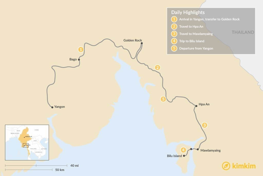 Map of Golden Rock - Hpa-An - Mawlamyaing - 5 Days