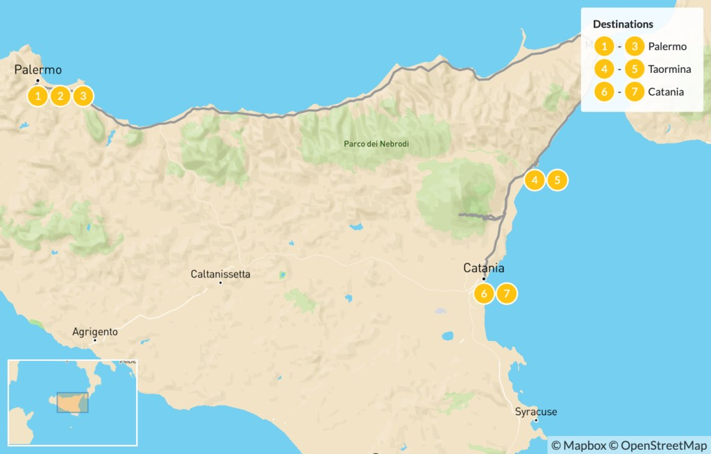 Map of Best of Sicily: Palermo, Taormina, Catania - 8 Days
