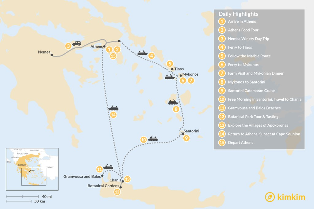 Map of Laid-Back Athens, Tinos, Mykonos, Santorini, and Crete - 15 Days