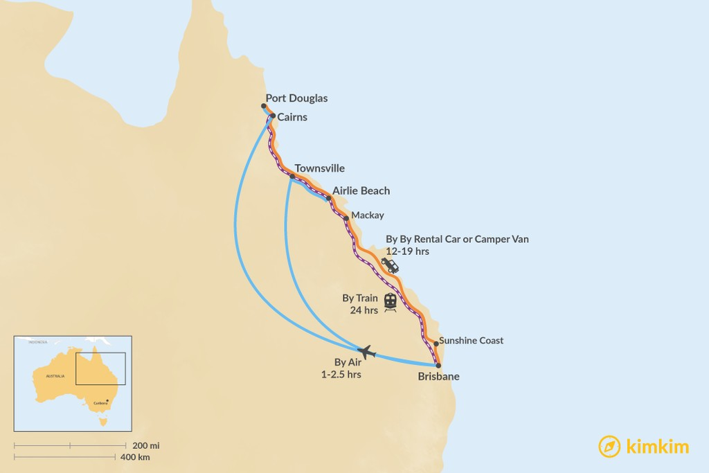 Map of How to Get from Brisbane to the Great Barrier Reef