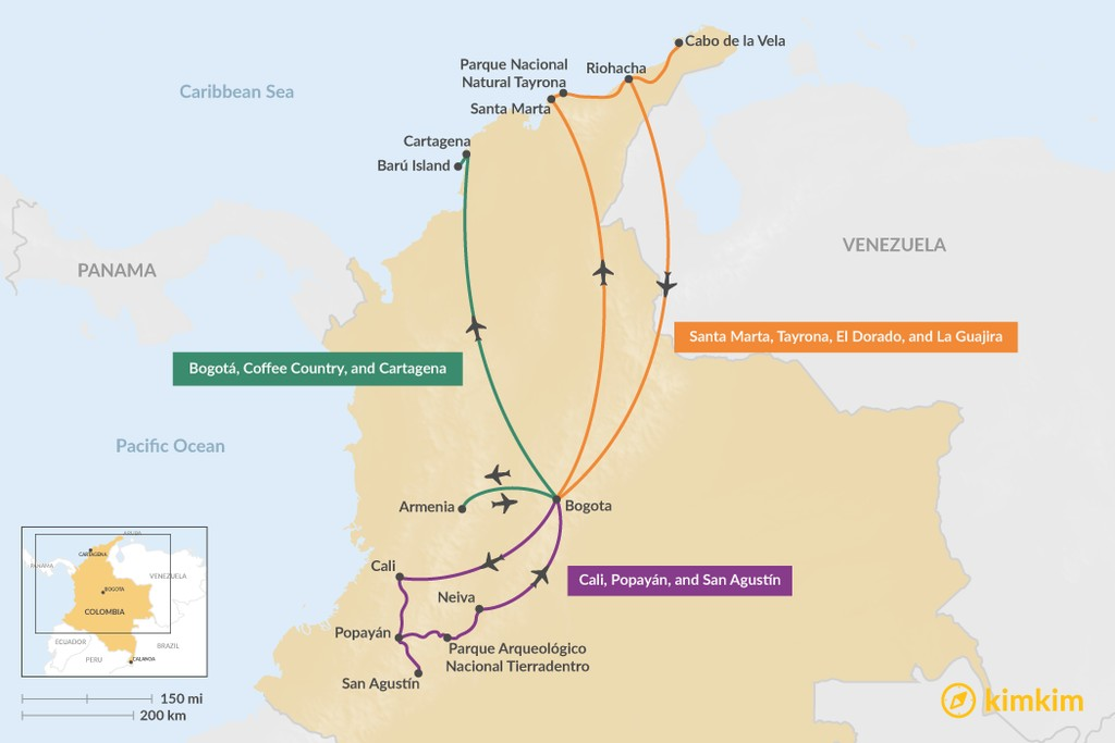 Map of 7 Days in Colombia - 3 Family Travel Itineraries