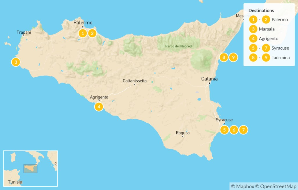 Map of Sicily Highlights Self-Drive Tour - 10 Days