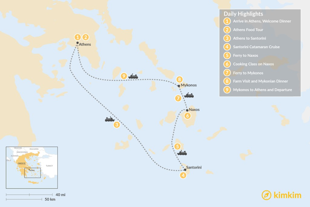 Map of Relaxed Athens, Santorini, Naxos & Mykonos - 9 Days