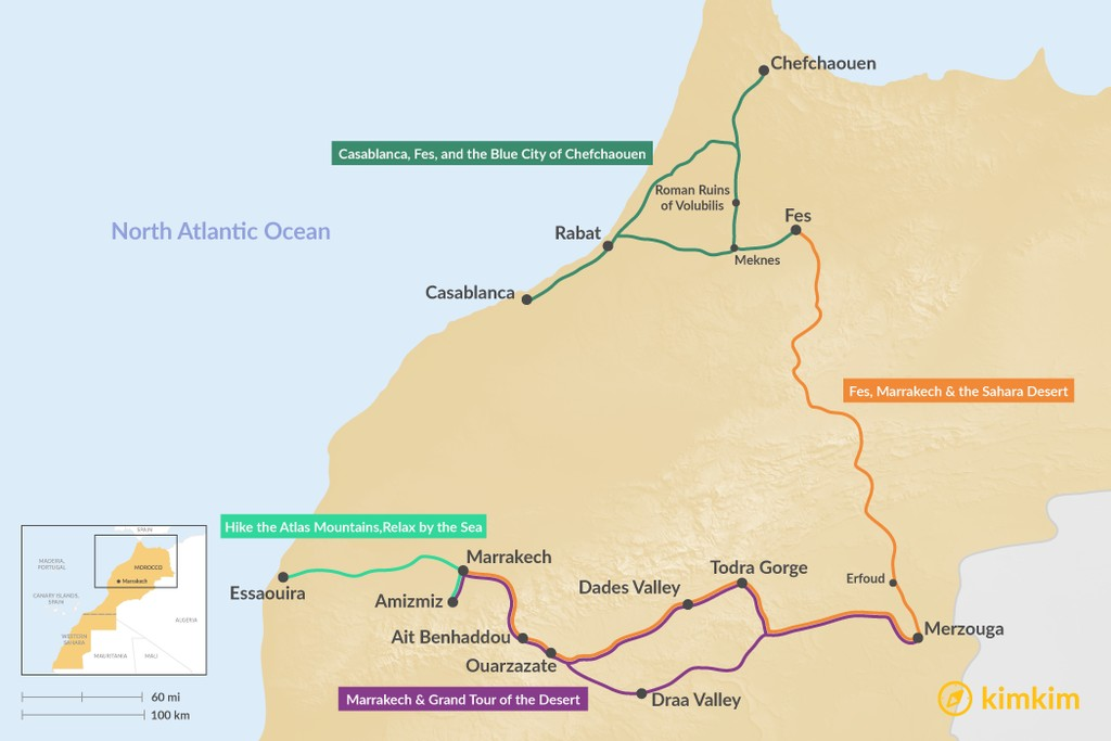 Map of 5 Days in Morocco - 4 Unique Itineraries