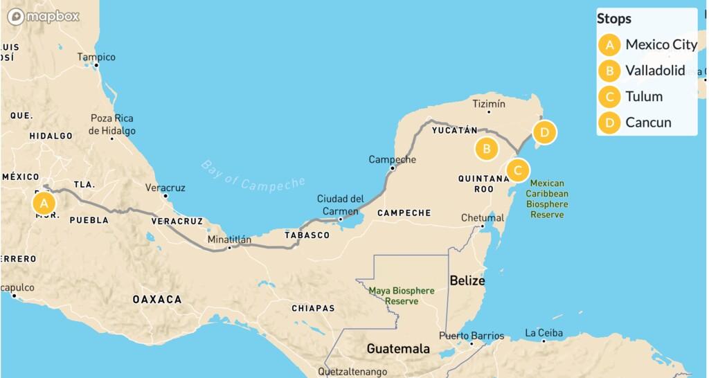 Map of Mexico City & Riviera Maya - 10 Days