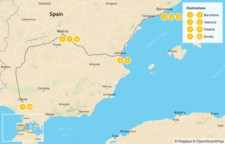 Map thumbnail of Family Trip to Spain: Barcelona, Valencia, Madrid, & Andalusia - 11 Days