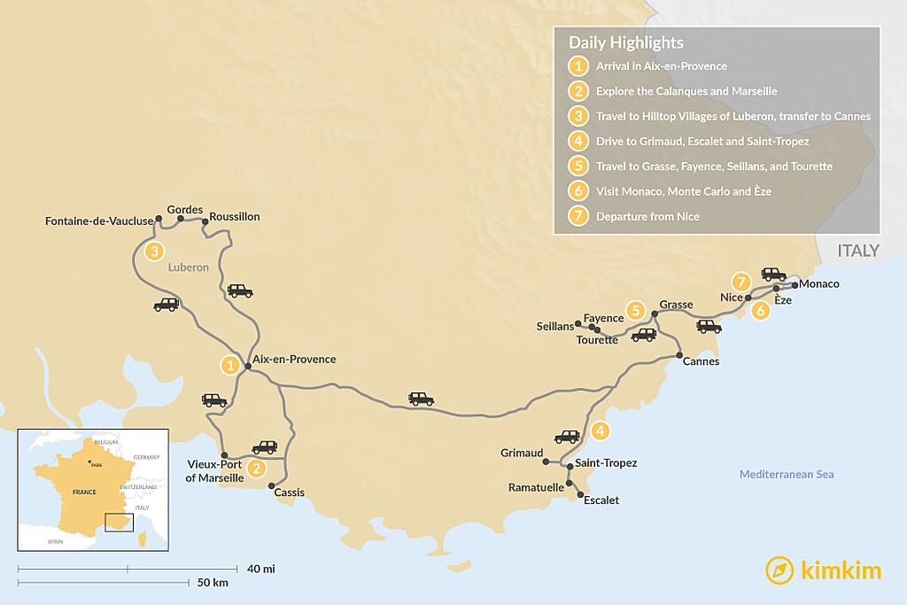 "Map of ""Like a Local"" Tour in Provence and the French Riviera: 7 Days"