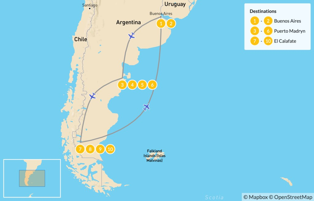 Map of Argentine Wildlife & Glaciers Adventure - 11 Days