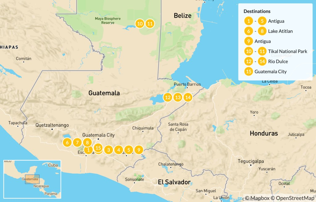 Map of Guatemala Honeymoon Adventure - 16 Days