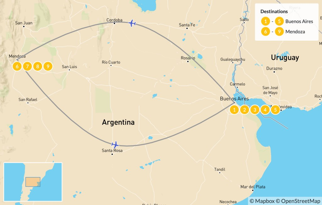 Map of Buenos Aires & Mendoza - 10 Days