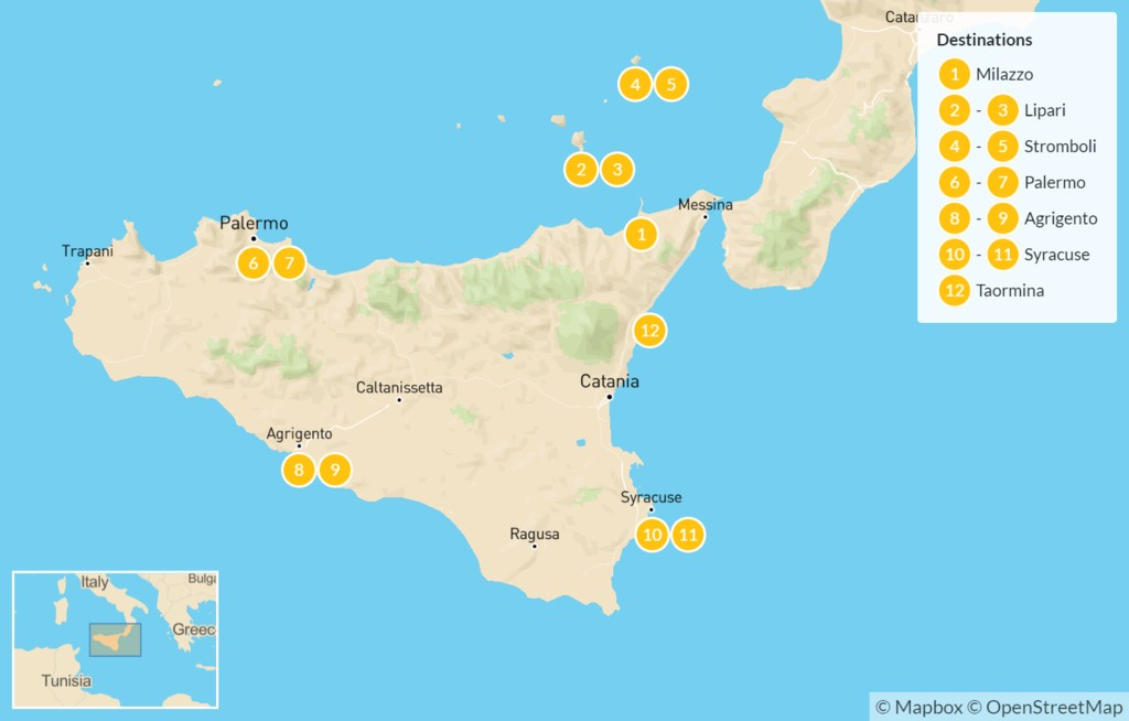 Map of Sicily Highlights Self-Drive Tour with Aeolian Islands - 13 Days
