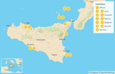 Map thumbnail of Sicily Highlights Self-Drive Tour with Aeolian Islands - 13 Days