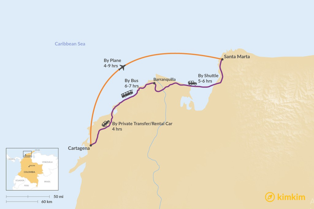 Map of How to Get from Cartagena to Santa Marta