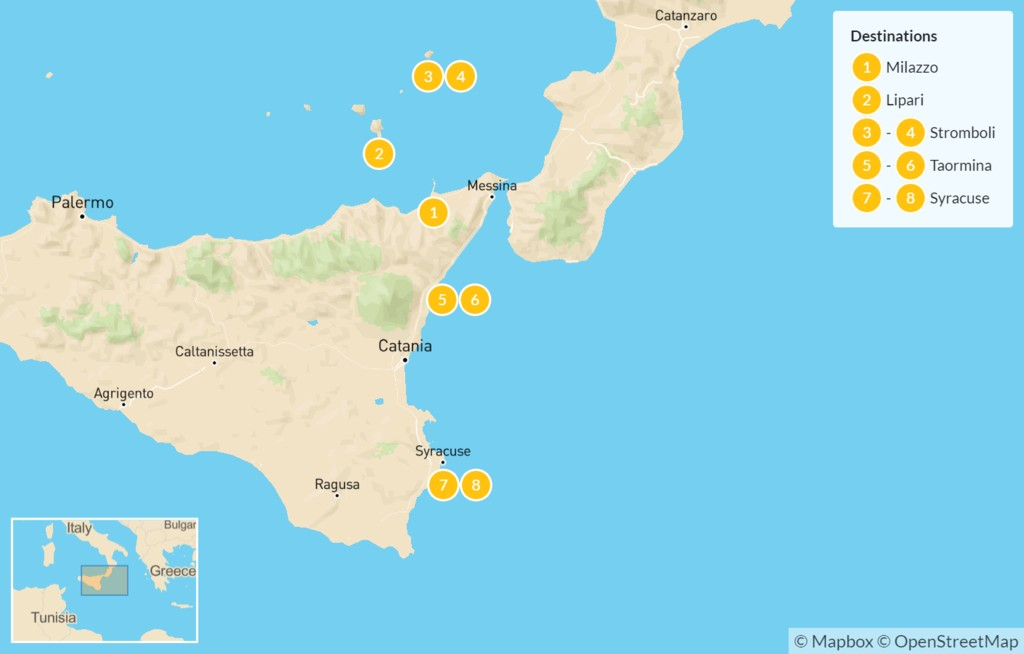 Map of Sicily Highlights Self-Drive Tour with Aeolian Islands - 9 Days