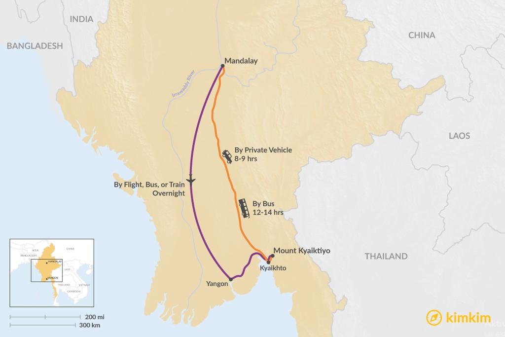 Map of How to Get from Mandalay to Mount Kyaiktiyo