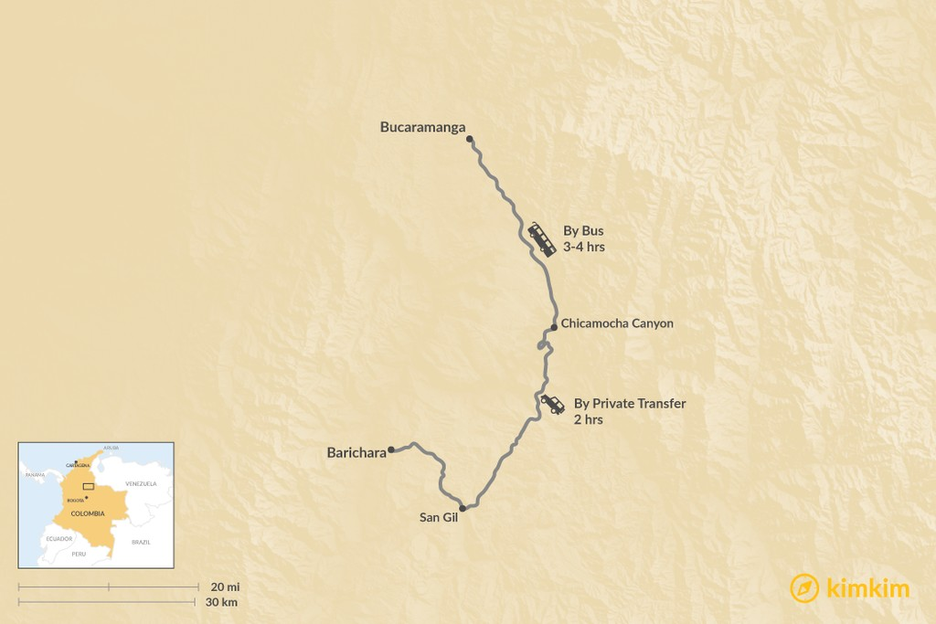 Map of How to Get from Barichara to Bucaramanga