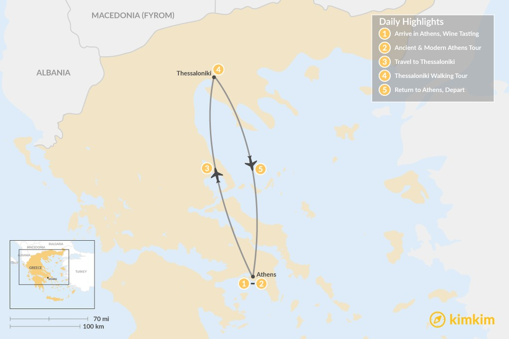 Map of Urban Adventures and History in  Athens & Thessaloniki - 5 Days