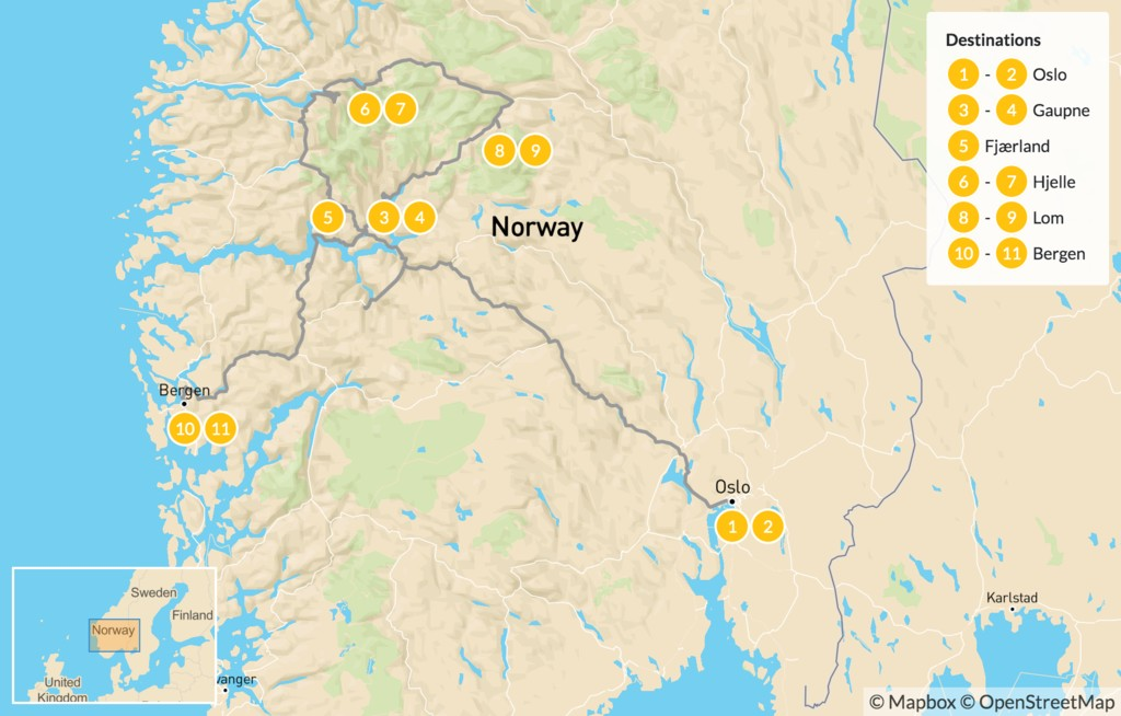 Map of Western Norway Summer Road Trip - 12 Days