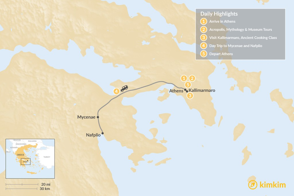 Map of Best of Athens & Ancient Greece - 5 Days