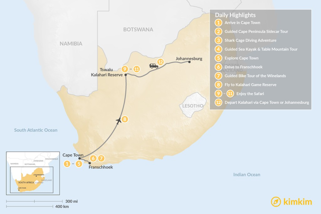 Map of Discover South Africa: Cape Town, Winelands, & Tswalu Kalahari - 12 Days