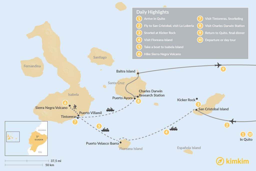 Map of Galapagos Islands Land-Based Adventure Tour: 10 Days
