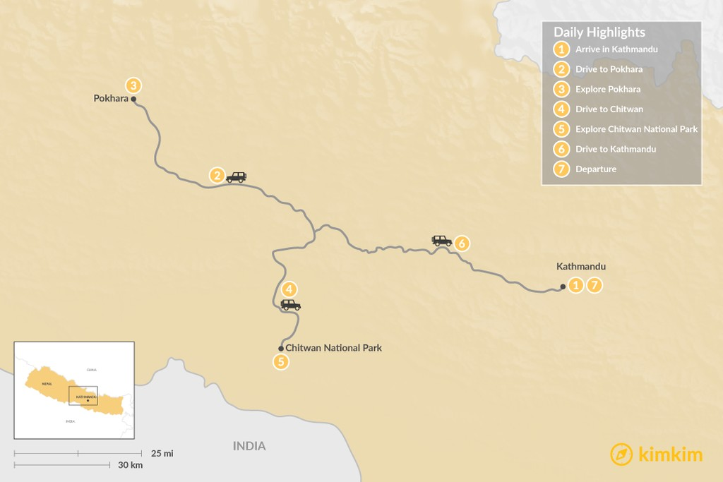 Map of Golden Triangle Tour - 7 Days