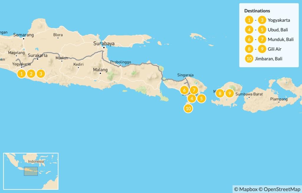 Map of Adventure and Wonder in Indonesia: Yogyakarta, Ubud, Munduk, Gili Air, & Jimbaran - 11 Days