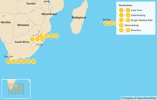 Map thumbnail of Classic South Africa and Mauritius: Cape Town, Johannesburg, Kruger Safari, & More - 22 Days