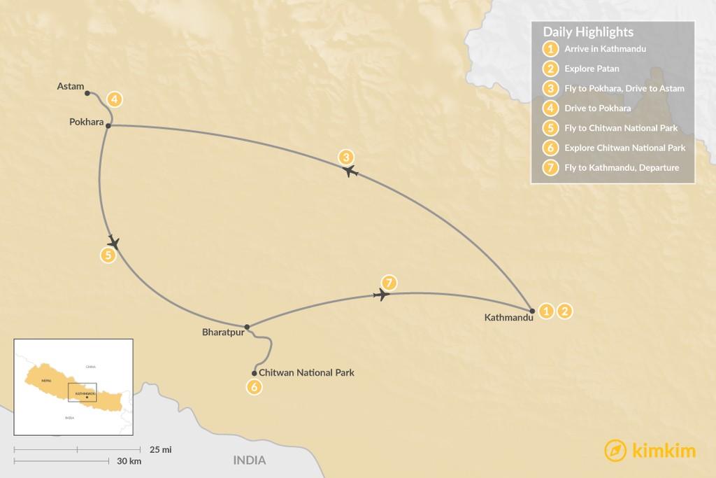 Map of Explore the Golden Triangle: Kathmandu, Pokhara, & Chitwan - 7 Days