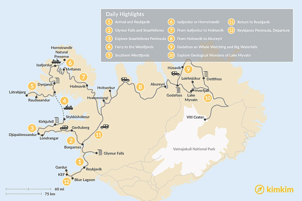 Map of Best of West & North Iceland - 12 Days