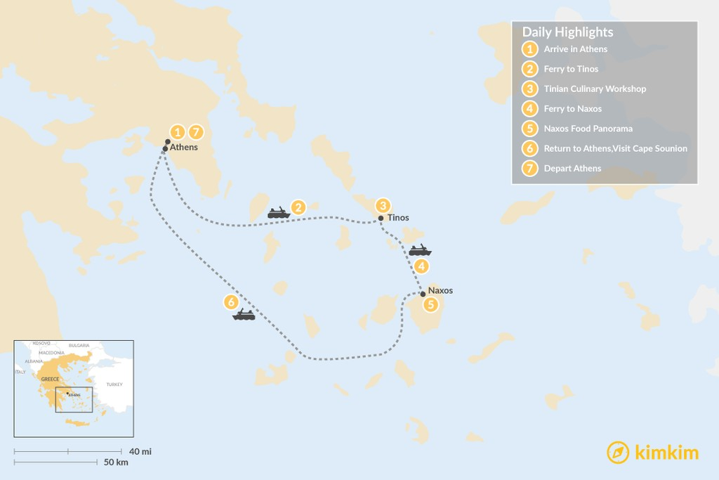 Map of Relaxing Secret Cyclades - 7 Days