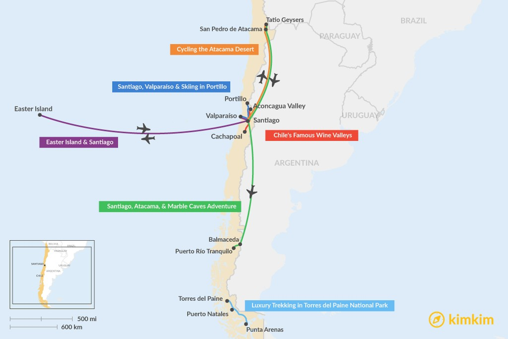 Map of 7 Days in Chile - 6 Unique Itinerary Ideas