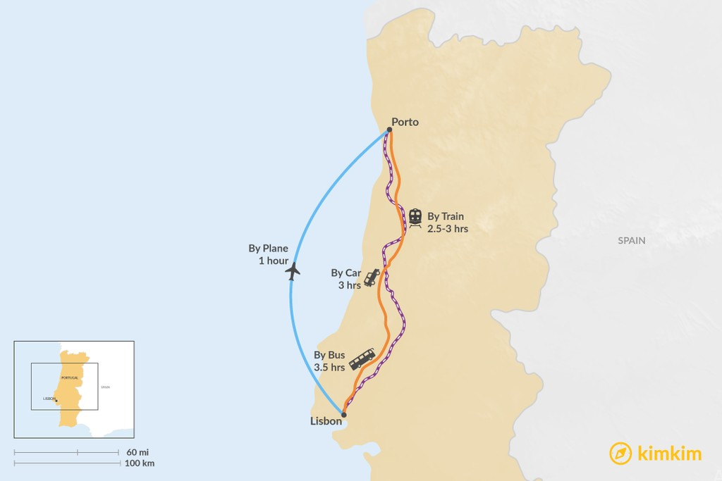 Map of How to Get from Lisbon to Porto