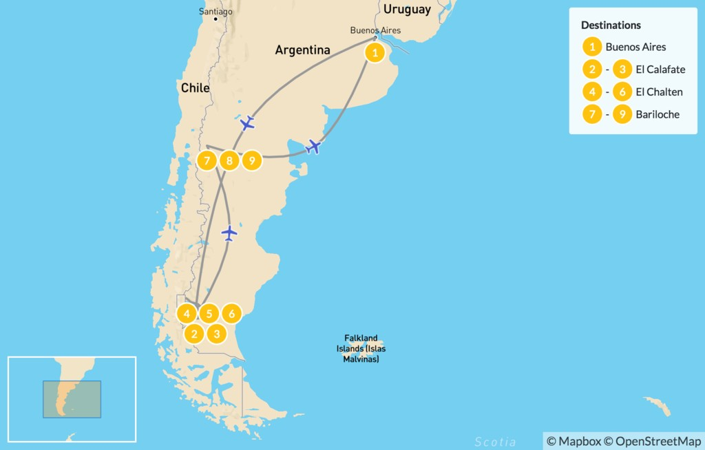 Map of Hiking in Argentine Patagonia - 10 Days