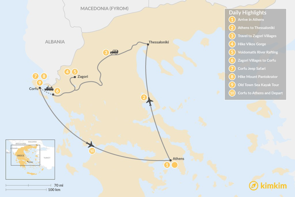 Map of Active Northern Greece & Corfu - 10 Days