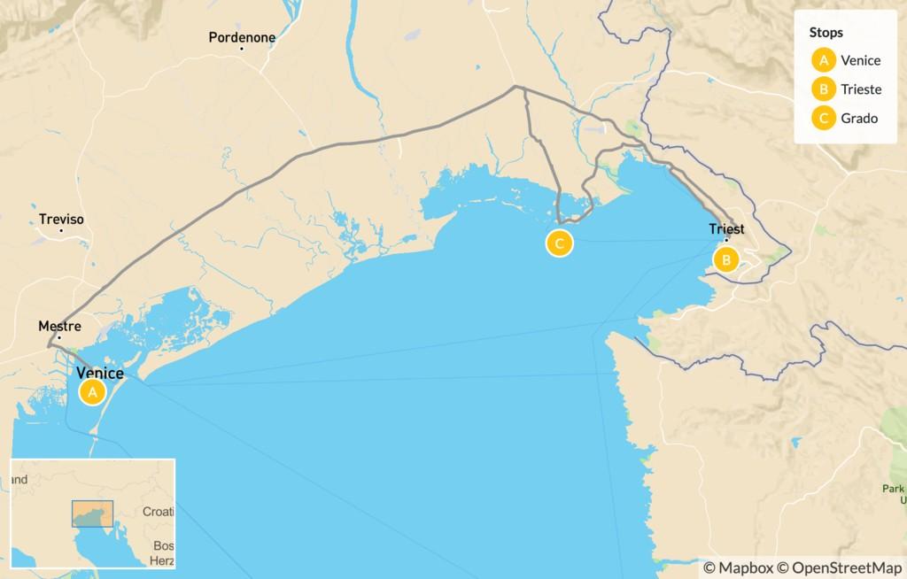 Map of Northeast Italy: Trieste, Grado & Venice - 9 Days