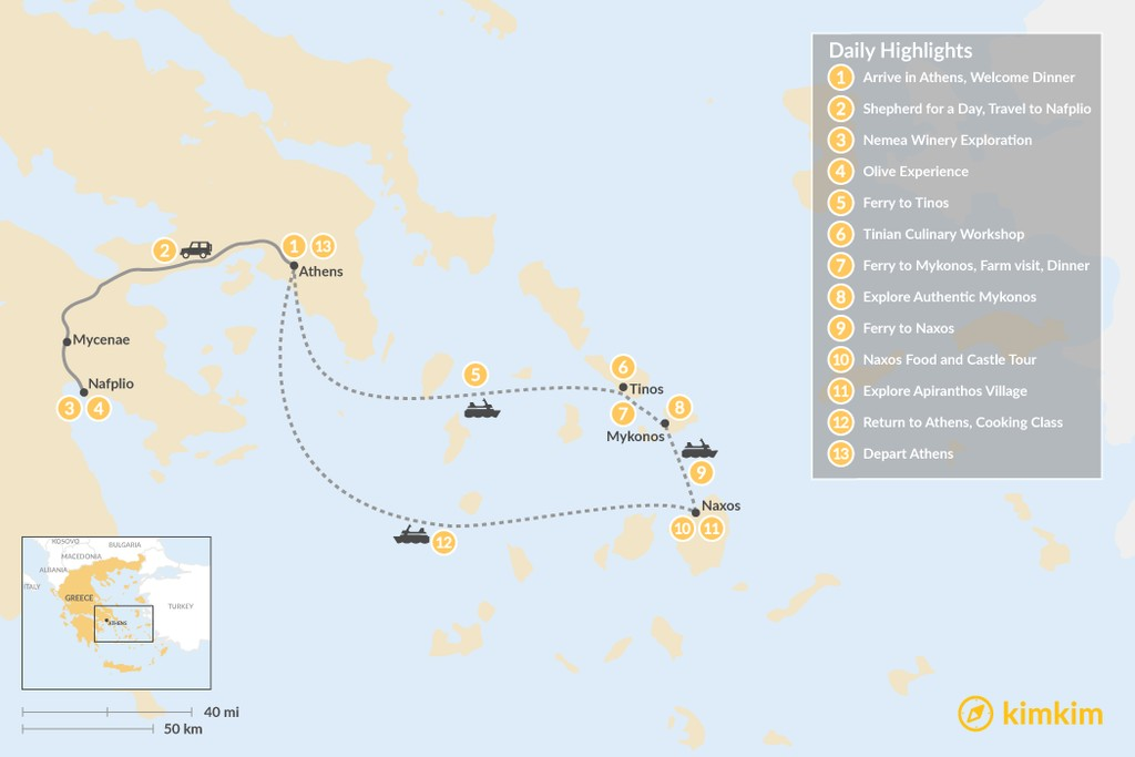 Map of Cyclades & Peloponnese Culinary Heritage - 13 Days
