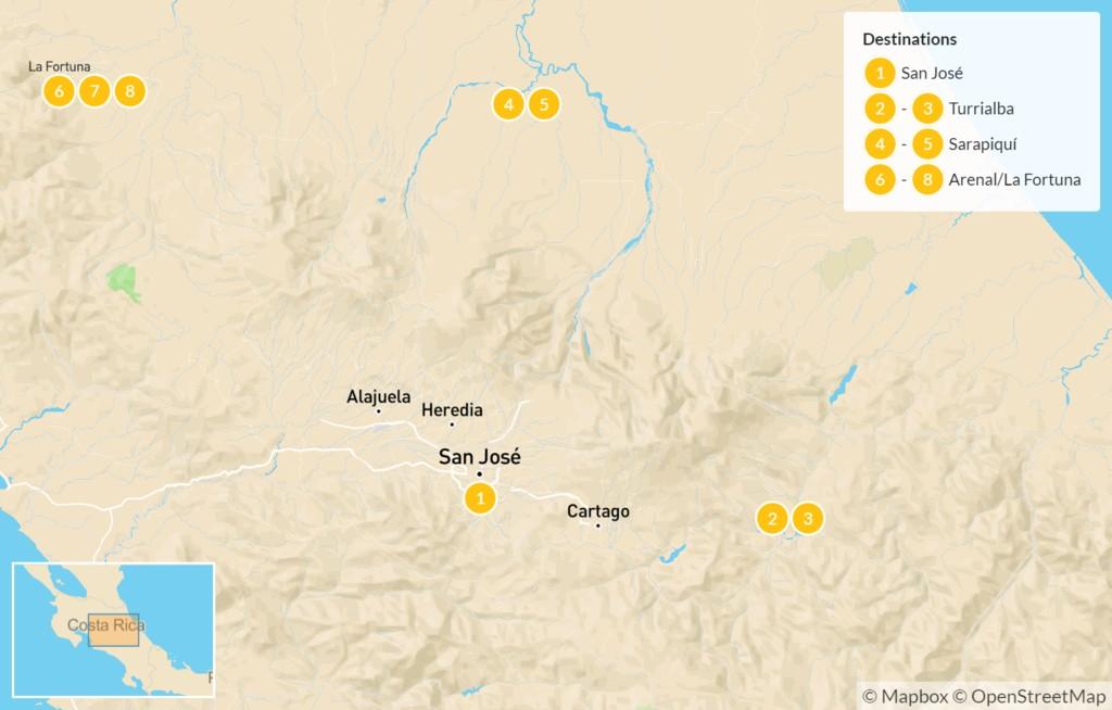 Map of Costa Rica Nature Expedition: Turrialba, Irazú, Sarapiqui, Arenal, & More - 9 Days