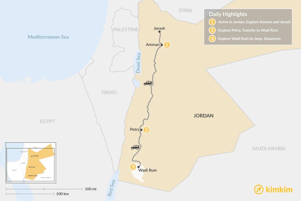 Map of Jordan Adventure: Amman, Petra and Wadi Rum - 3 Days