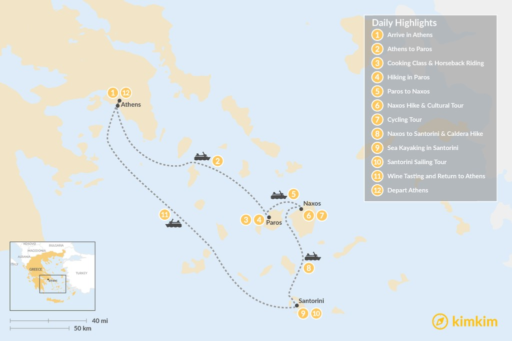 Map of Active Cyclades Adventure - 12 Days