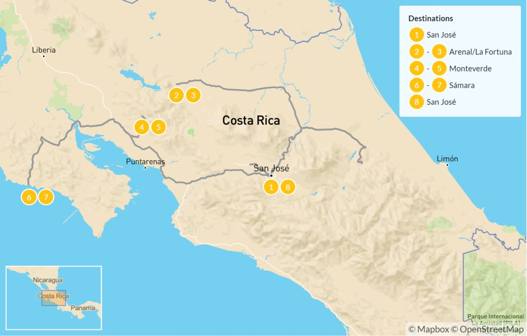 Map of Costa Rican Outdoor Adventure: Arenal, Monteverde, & Samara Beach - 9 Days