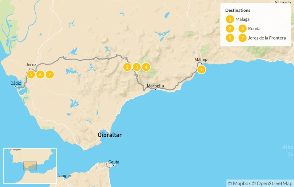 Map of Andalucía Self-Drive Tour: From Málaga to Cádiz - 8 days