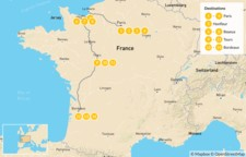 Map thumbnail of Road Trip Through Western France: Paris, Normandy, Brittany, Loire Valley, Bordeaux, & More - 15 Days