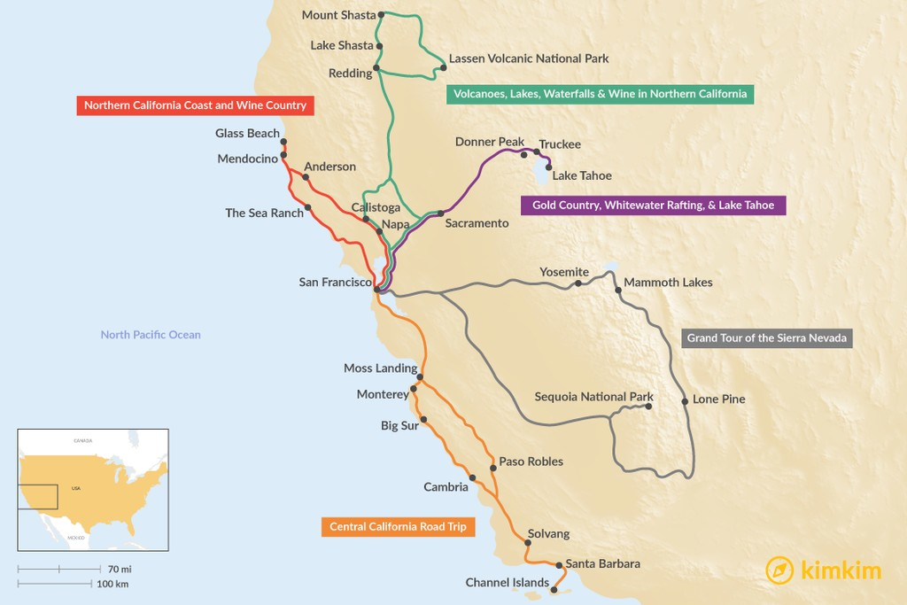 Map of One Week in Northern California - 5 Unique Road Trip Ideas
