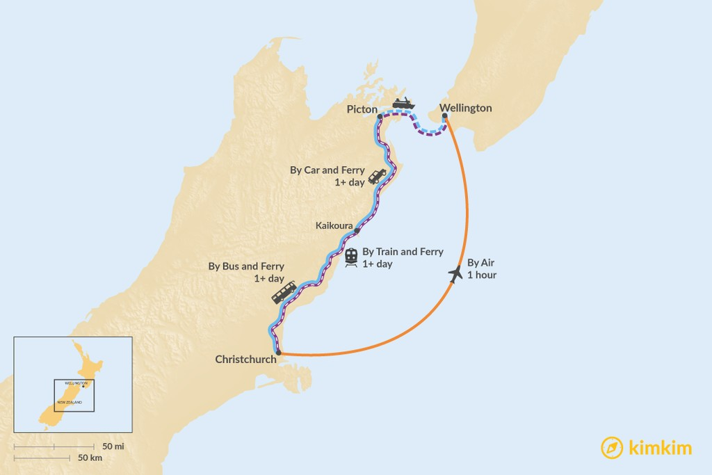 Map of How to Get from Christchurch to Wellington