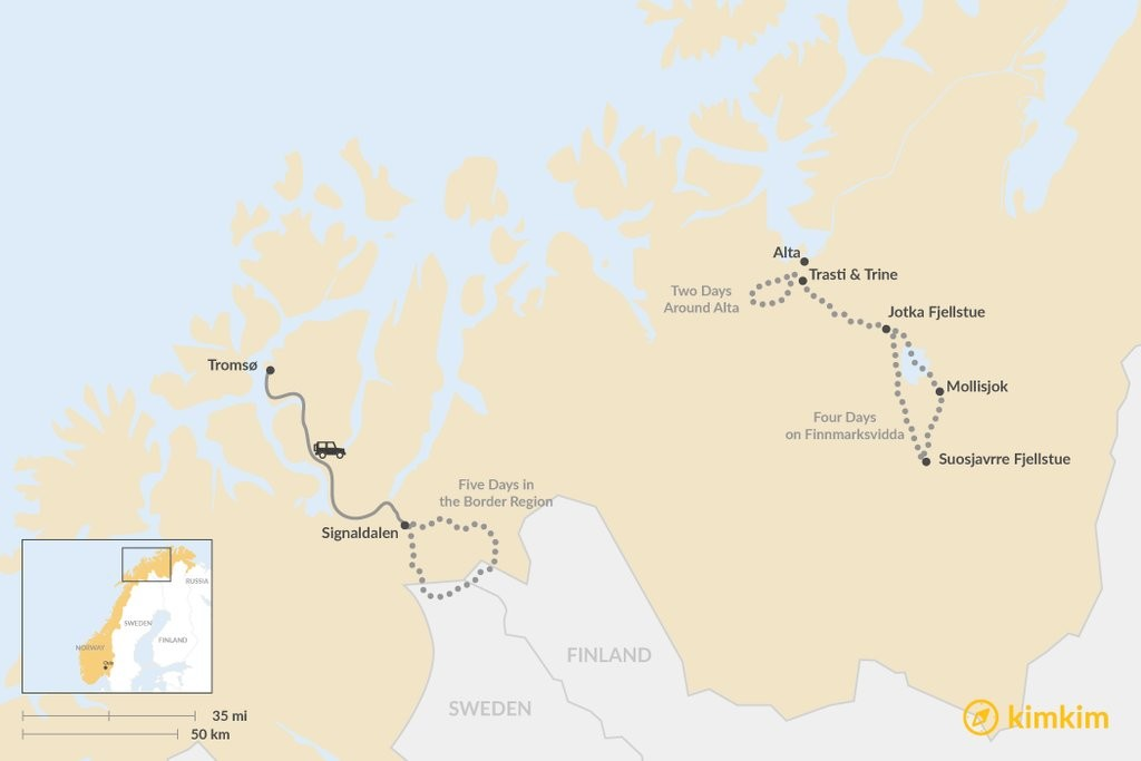 Map of Dog Sledding in Northern Norway: 3 Multi-Day Itineraries