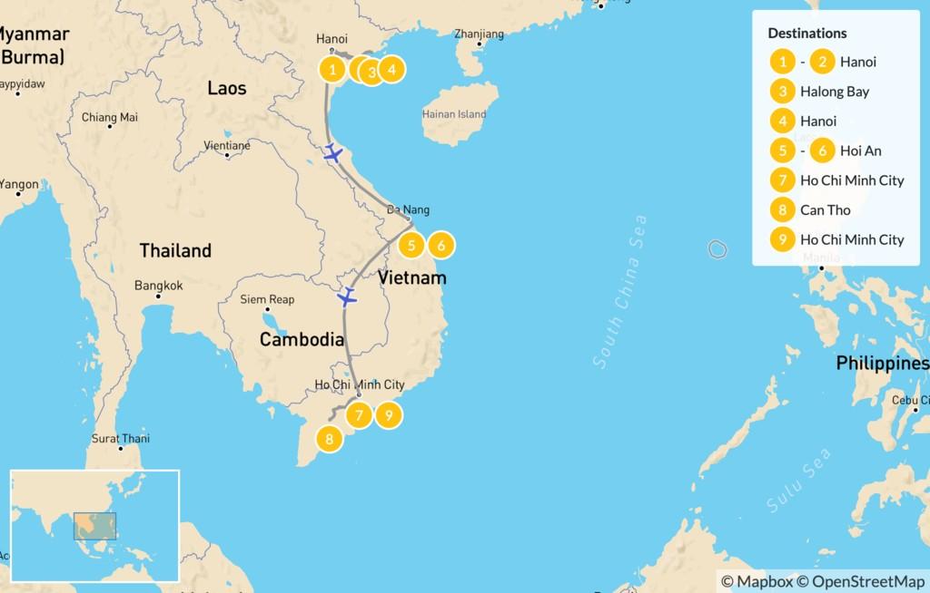 Map of Family Cultural Tour of Vietnam: Hanoi, Ha Long Bay, Hoi An, & More - 10 Days